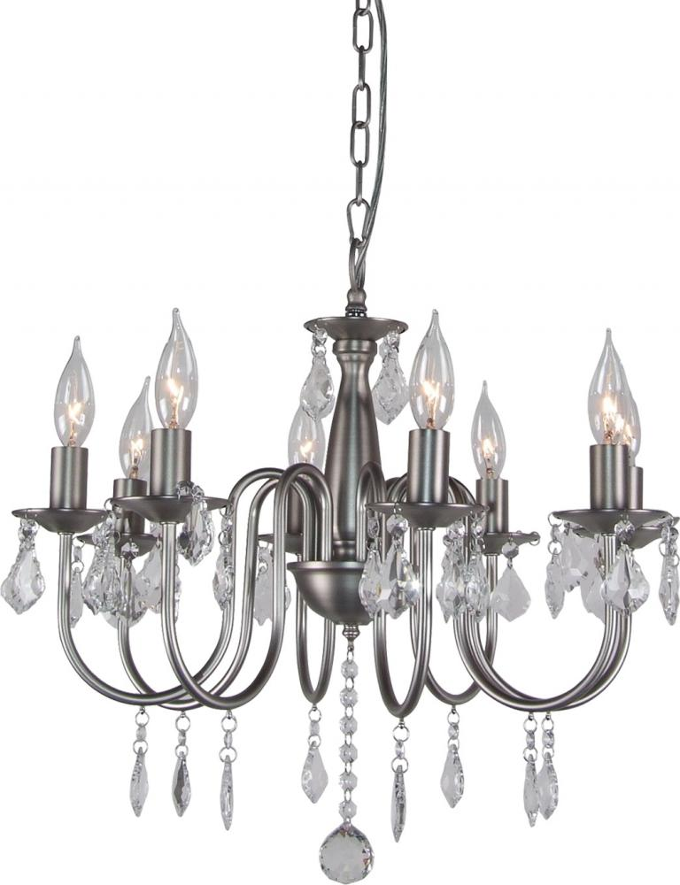 String Lights With Chandelier : Artcraft Eight Light Polished Nickel Silk String Shade Up Chandelier - AC388