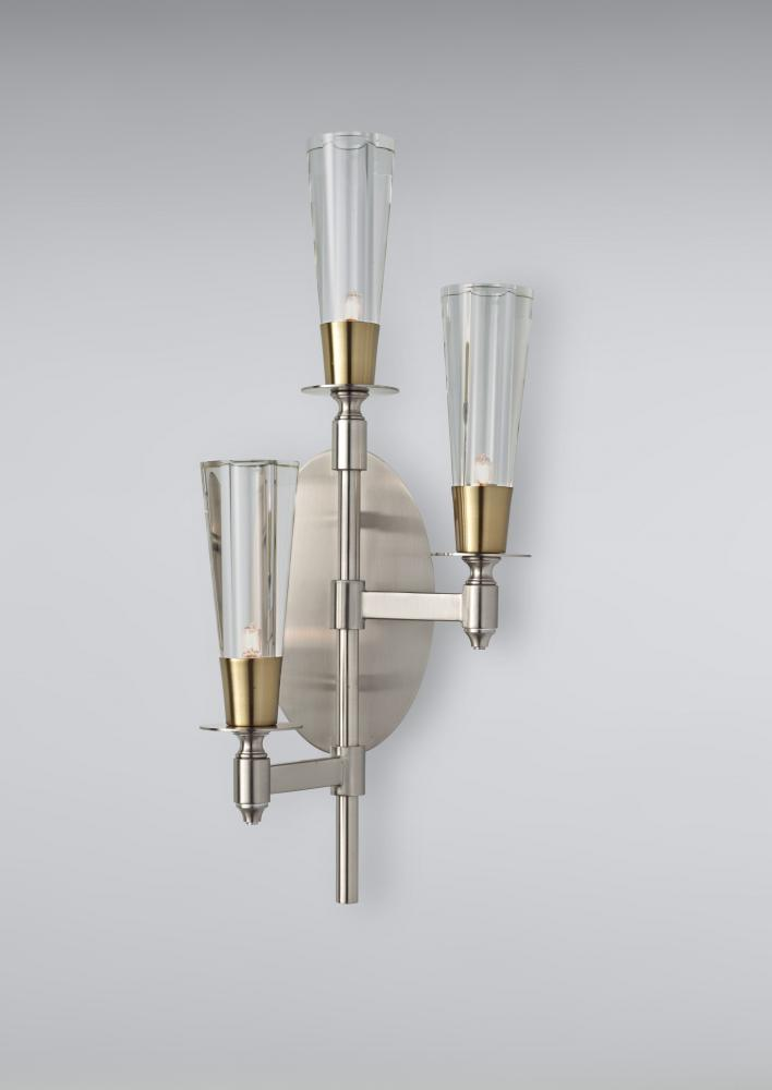 Feiss Three Light Brushed Nickel/natural Brass Clear Crystal Glass Wall Light - WB1607BN/NB