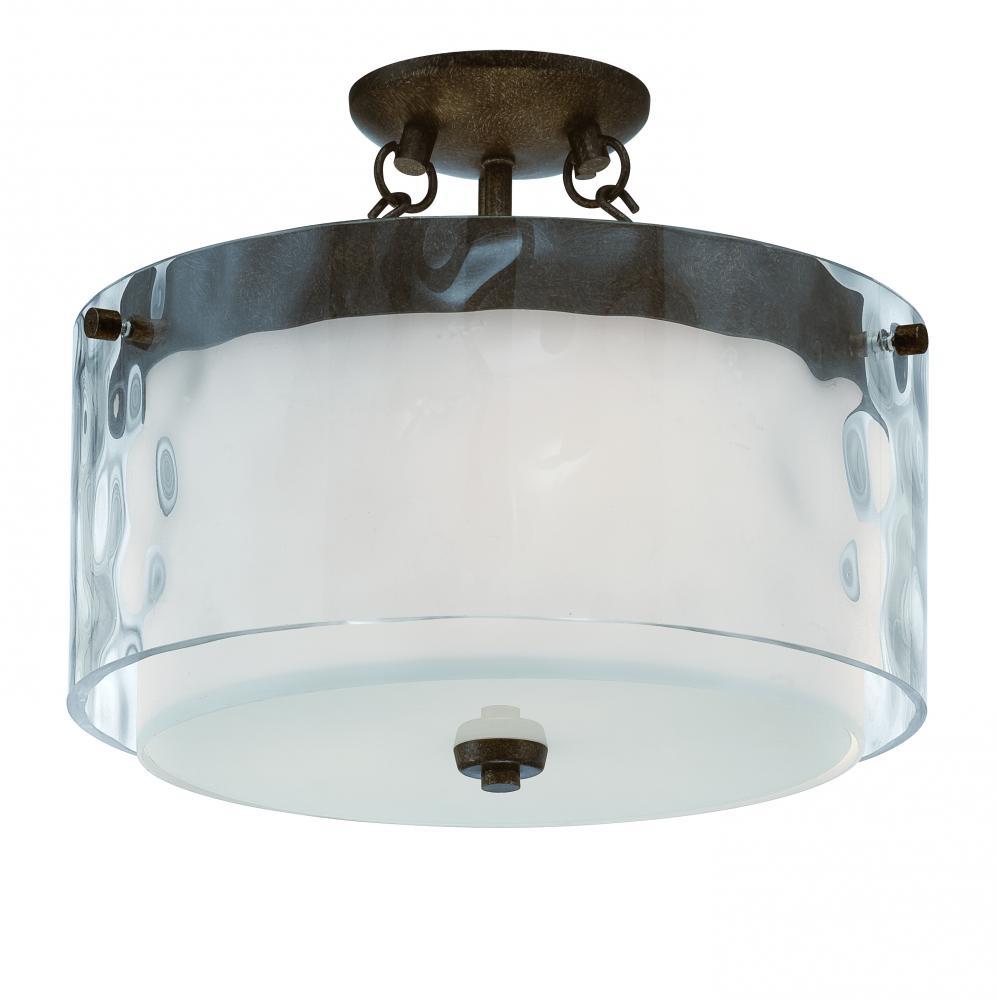 clear hammered alabaster glass drum shade semi flush mount 35453 pr. Black Bedroom Furniture Sets. Home Design Ideas