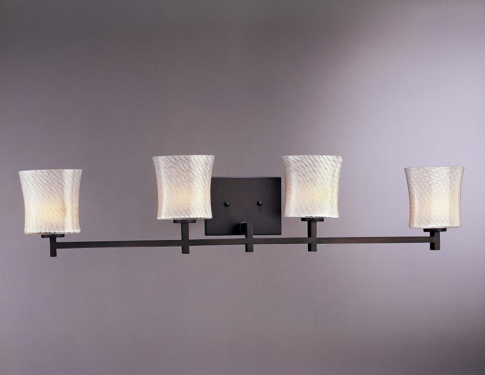 Art Glass Vanity Light : Minka George Kovacs Four Light Bronze Opal Art Glass Vanity - P5104-617