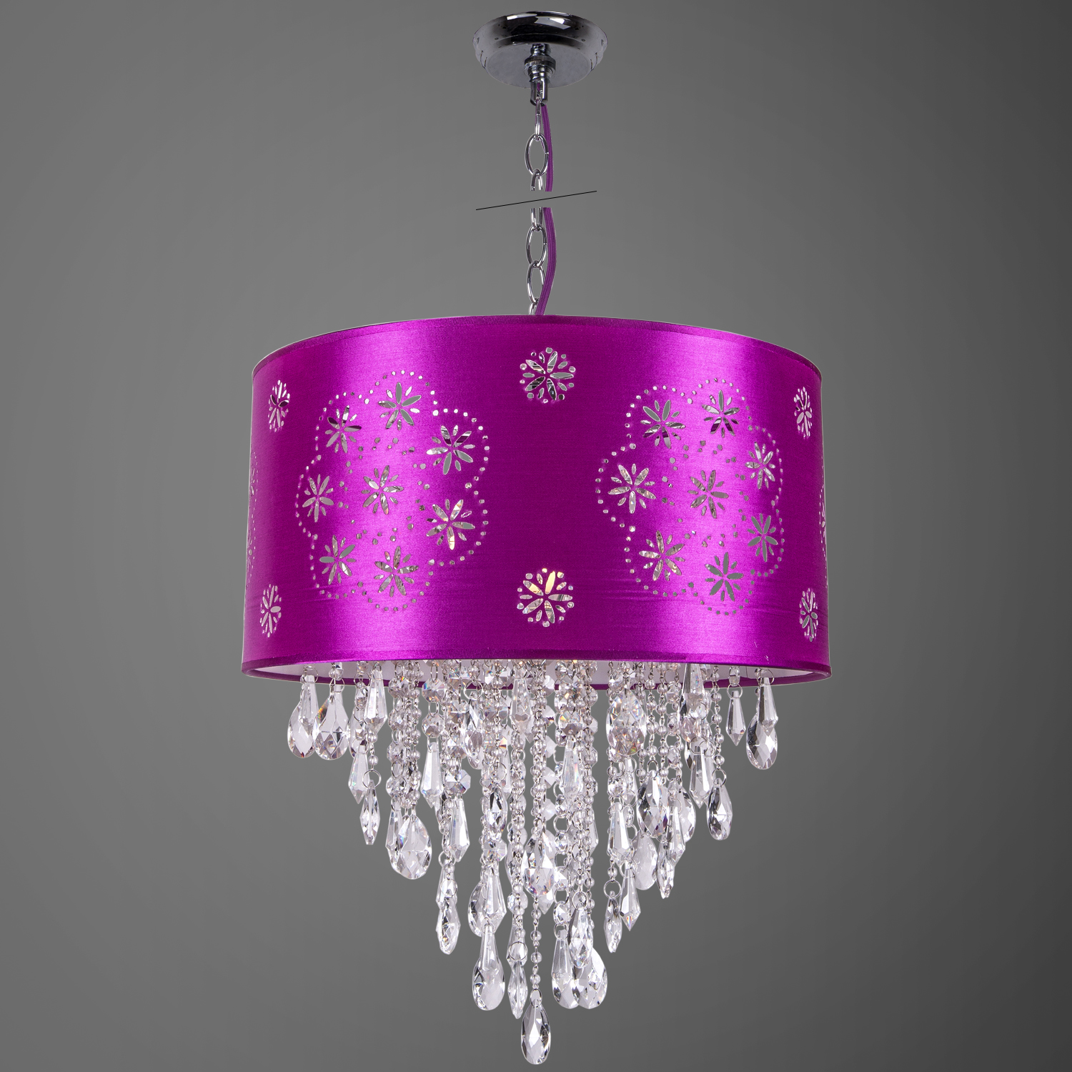 Pendant light with shade and crystals : Light crystal pendant in chrome finish with purple