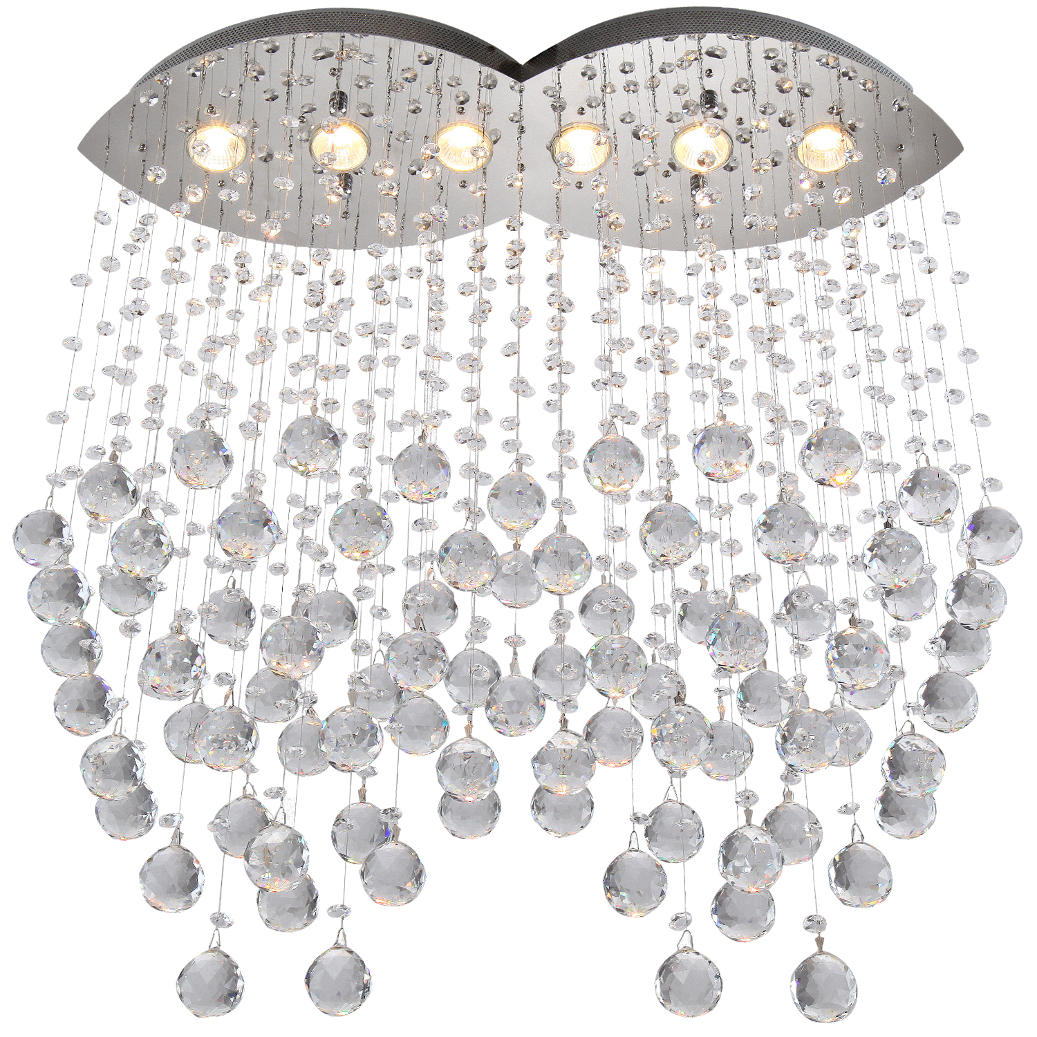 6 Light Pendant Chandelier Light Chrome Finish With European Crystals