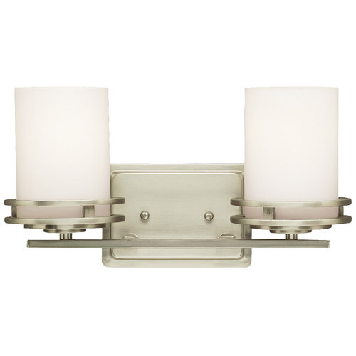 Hendrik Collection 2 Light 14 Brushed Nickel Bathroom Vanity Fixture With Satin Etched Opal
