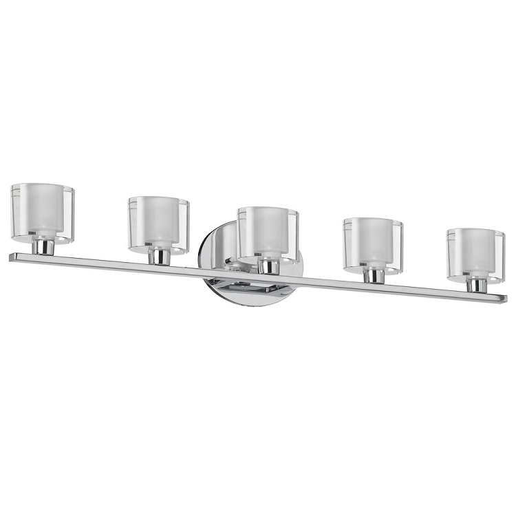Haley Collection 5 Light 29 Polished Chrome Bathroom Vanity Fixture With Clear Frosted Oval
