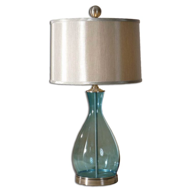 Meena 1 Light 29 Clear Blue Mouth Blown Glass Table Lamp
