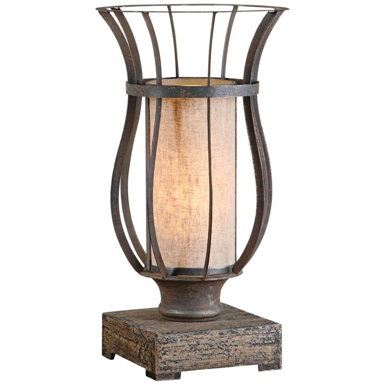 Minozzo 18 Rustic Bronze Metal Cage Table Lamp 29573 1