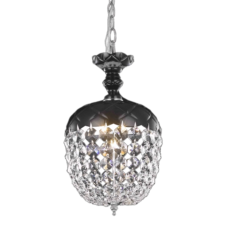 Rococo Collection 1 Light 13 Jet Black Mini Pendant