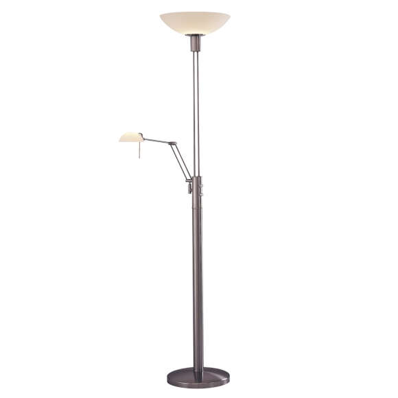 kovacs p257 084 two light brushed nickel etched opal glass floor lamp. Black Bedroom Furniture Sets. Home Design Ideas