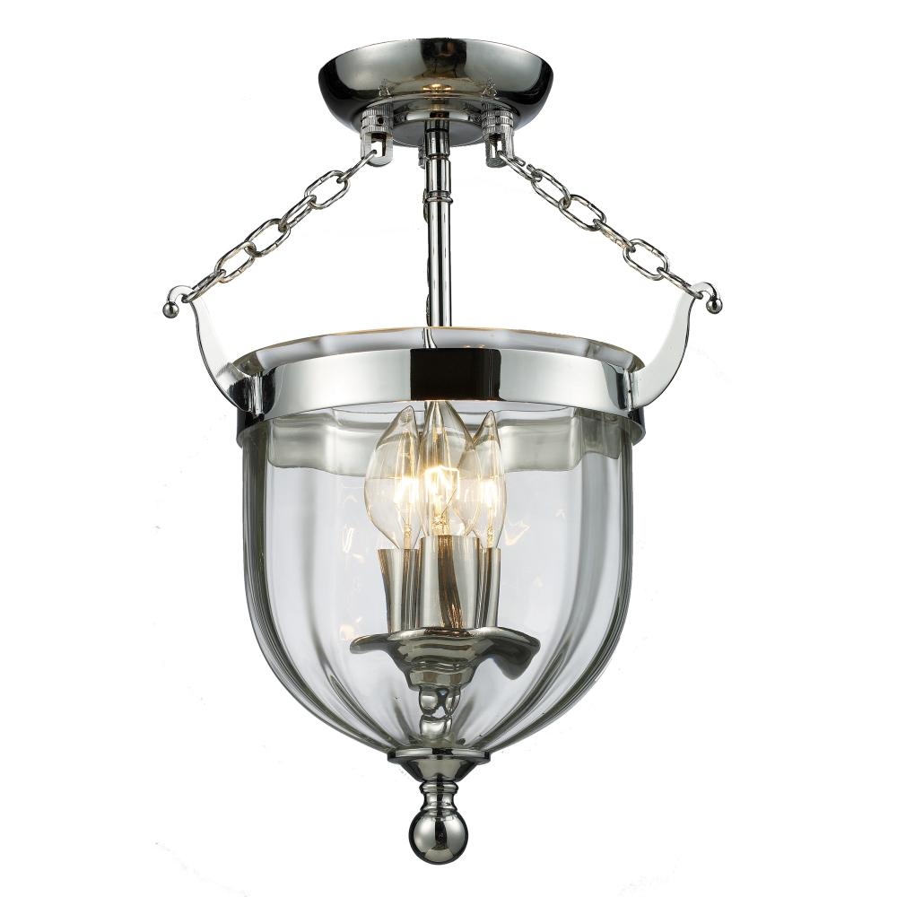 Foyer Lighting Fixtures Flush Mount : Three light chrome clear glass foyer hall semi flush mount