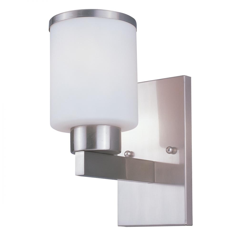 One Light Brushed Nickel White Glass Bathroom Sconce Z Lite 312 1s Bn